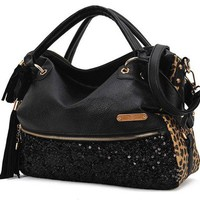 [ grdx02083]Tassels sequined leopard handbag shoulder bag