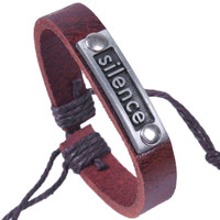 Genuine Leather Bracele-Silence