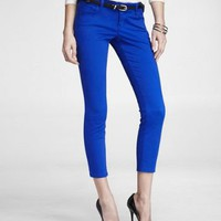 STELLA BRUSHED SATEEN CROPPED ROLLED PANT - BLUE