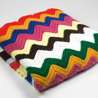Vintage Rainbow Chevron Afghan