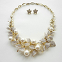 Gold-tone Flower Shape Wedding Necklace & Earring Set