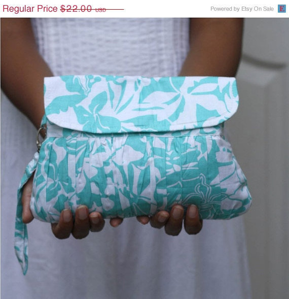 ON SALE  Pleated Wristlet/Purse Turquoise Blue and white  by Oyeta