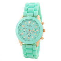 Rose Gold &amp; Mint Rubber Strap Watch