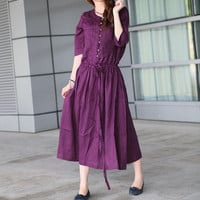 Long Linen Purple Dress / Sundress Gown  Made to by camelliatune