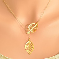 Gold Leaf Lariat - double leaf pendant, double leaf lariat, mini leaf lariat, leaf necklace