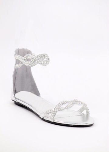 Silver Wedding Shoes, flat, rhinestones, from shopZoey | Prom