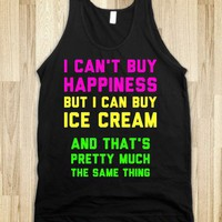Happiness and Ice Cream-Unisex Black Tank