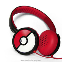 NEW Poke-phones Headphones earphones white red hand painted