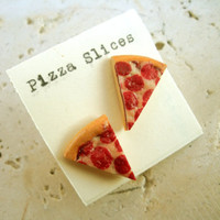 Miniature PIZZA slice Earrings