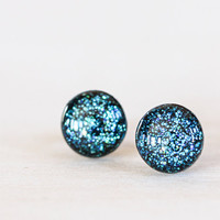 Midnight Blue Sparkle Post Earrings - Hypoallergenic Studs
