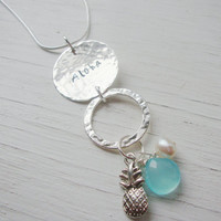 Aloha silver dangle necklace with freshwater pearl, silver pineapple charm and chalcedony aqua gem