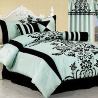 Chezmoi Collection 7 Pieces Aqua Blue with Black Floral Duvet Cover Set for Queen Size Bedding