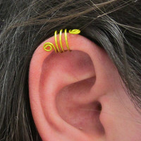 Triple Ear Cuff, Ear Wrap, Lemon Yellow, No Pierce