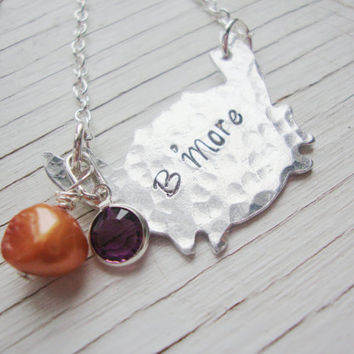 Bmore Baltimore crab hand stamped hammered necklace with freshwater pearl and crystal