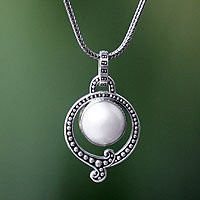Pearl pendant necklace, Angel Halo