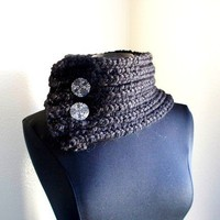 Knit Black Bulky Cowl / Neckwarmer by Karmacrochet on Etsy