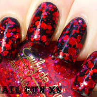 Nail polish - &quot;Ruby Soho&quot; red and pink glitter in a clear base