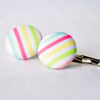 Pastel striped fabric buttons on silver by MeredithsLittleShop
