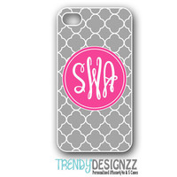 iPhone case, Personalized iPhone case, iPhone 4 case, iPhone5 case, Cover, Pink Monogram Gray Trellis, Personalized Phone Cover (1019)
