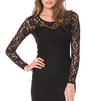 Motel Long Sleeve Dress Elsa Rose in Black & Black