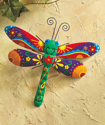 Outdoor Wall Decor Dragonfly : Colorful metal dragonfly garden art yard from cornerstone