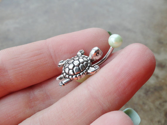 Silver Turtle Belly Button Ring Light Green Pearl Jewelry