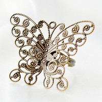 Brass filigree butterfly statement ring by JooniebeadsTreasures