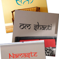 Om Shanti, Namaste, Lotus Blossom Set- Vinyl Wall Art - FREE Shipping - Fun Wall Decal