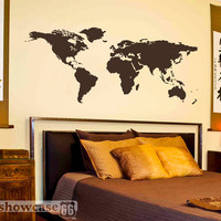 World Map - Vinyl Wall Art - FREE Shipping - Fun Wall Decal