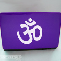 Om Decal - Vinyl Laptop Art - FREE SHIPPING - White Vinyl
