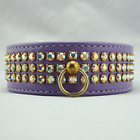 3 ROW RHINESTONE JEWELS ON VINYL DOG PUPPY CAT PET COLLAR PURPLE SMALL SM S 14