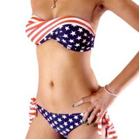 Sexy Bikini Twisted Tube AMERICAN Flag US Stars Stripes Padded Swimwear Swimsuit, #patriot, #4thofjuly