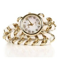 SALE-White Chain Wrap Watch
