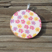 Silver Spring Flowers Wood Pendant, Pink Yellow Purple