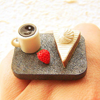Kawaii Food Ring  Miniature Food Jewelry Coffee by SouZouCreations
