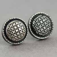 Fake Plugs : Black and Silver Cross Stitch Stud Earrings, Sterling Silver Posts, Fake Plugs, Fun, ArtisanTree