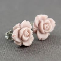 Flower Stud Earrings : Pastel Pink Flower Stud Earrings, Sterling Silver Plated Earring Posts, Simple, Spring,  Matte