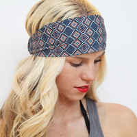 Wide Geometric Aztec Tribal Print Boho Stretch Headband Hairwrap