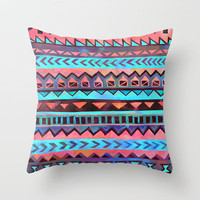 PATTERN {Tribal Stripe- Aqua} Throw Pillow by Schatzi Brown | Society6