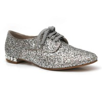 New Style Silver Lace up Flat Shoes-sinospecial.com