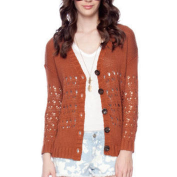 Holed Me Down Cardigan in Rust :: tobi