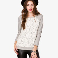 Lace Overlay Pullover | FOREVER21 - 2054246593