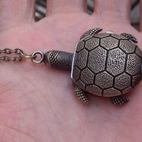 tortoise Pocket Watch Locket Necklace