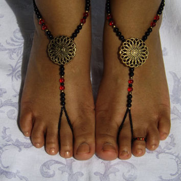 Barefoot Sandles Foot Jewelry Anklet Toe Ring Ankle Bracelet