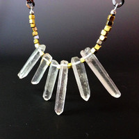 Raw Crystal Necklace, Quartz Queen Statement Necklace by Atelier Yumi