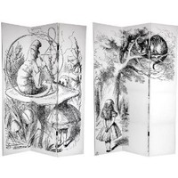 Amazon.com: Oriental Furniture Interesting Unusual Alternative Wall Decor Art Prints, 6' Double Printed Alice in Wonderland Canvas Room Divider Partition Screen: Home & Kitchen