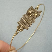 Owl Bangle Bracelet Style 2 by turquoisecity on Etsy