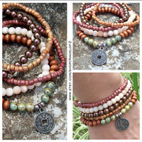 Stackable Stretch Bracelets with Pewter Oriental Charm - Peacock Metallic Glass, Wood, Cats Eye, Painted Glass