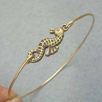 Seahorse Bangle Bracelet by turquoisecity on Etsy