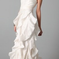 Badgley Mischka Collection Strapless Gown with Ruffle | SHOPBOP